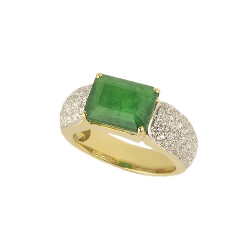 18k Yellow Gold Emerald & Diamond Dress Ring 3.78ct